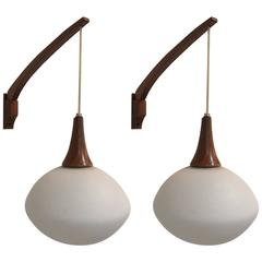 Pair of Walnut Sconces by Luxus