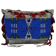 Late 19th Century Native American Tribal Beaded Leather Bag