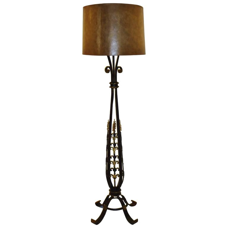French Gilt on Wrought Iron Art Deco Floor Lamp, circa 1920