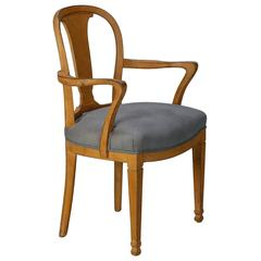 French Side Armchair with Distressed Light Rust Paint