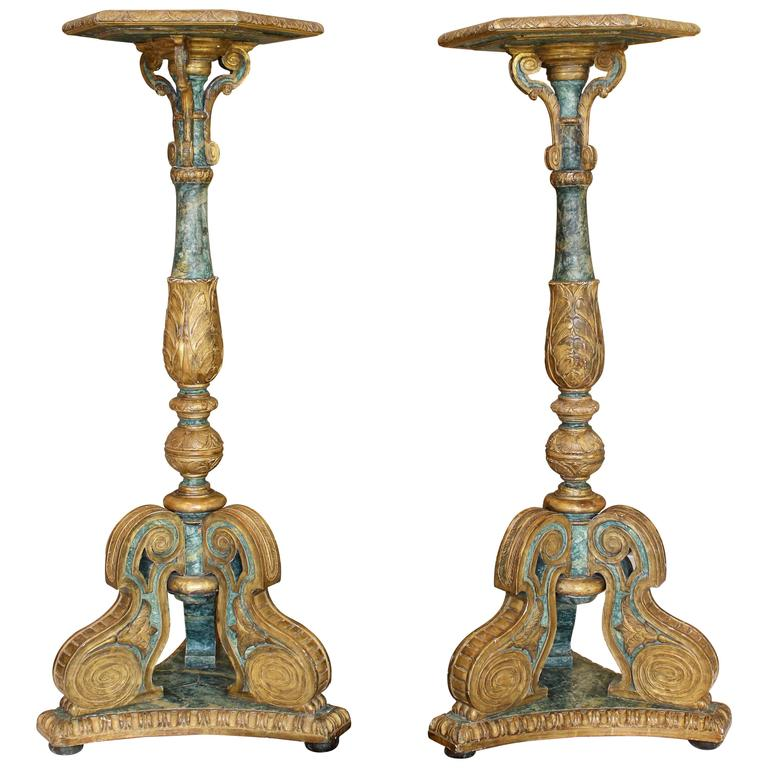 Pair of South European Faux Marble Painted and Parcel-Gilt Wooden Torchères For Sale