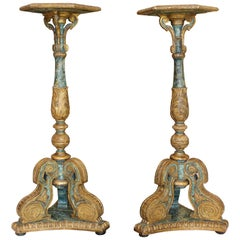 Pair of South European Faux Marble Painted and Parcel-Gilt Wooden Torchères
