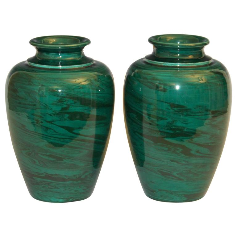 Pair Of Vintage Bitossi Green Marbled Malachite Italian Pottery