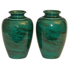 Pair of Vintage Bitossi Green Marbled Malachite Italian Pottery Vases