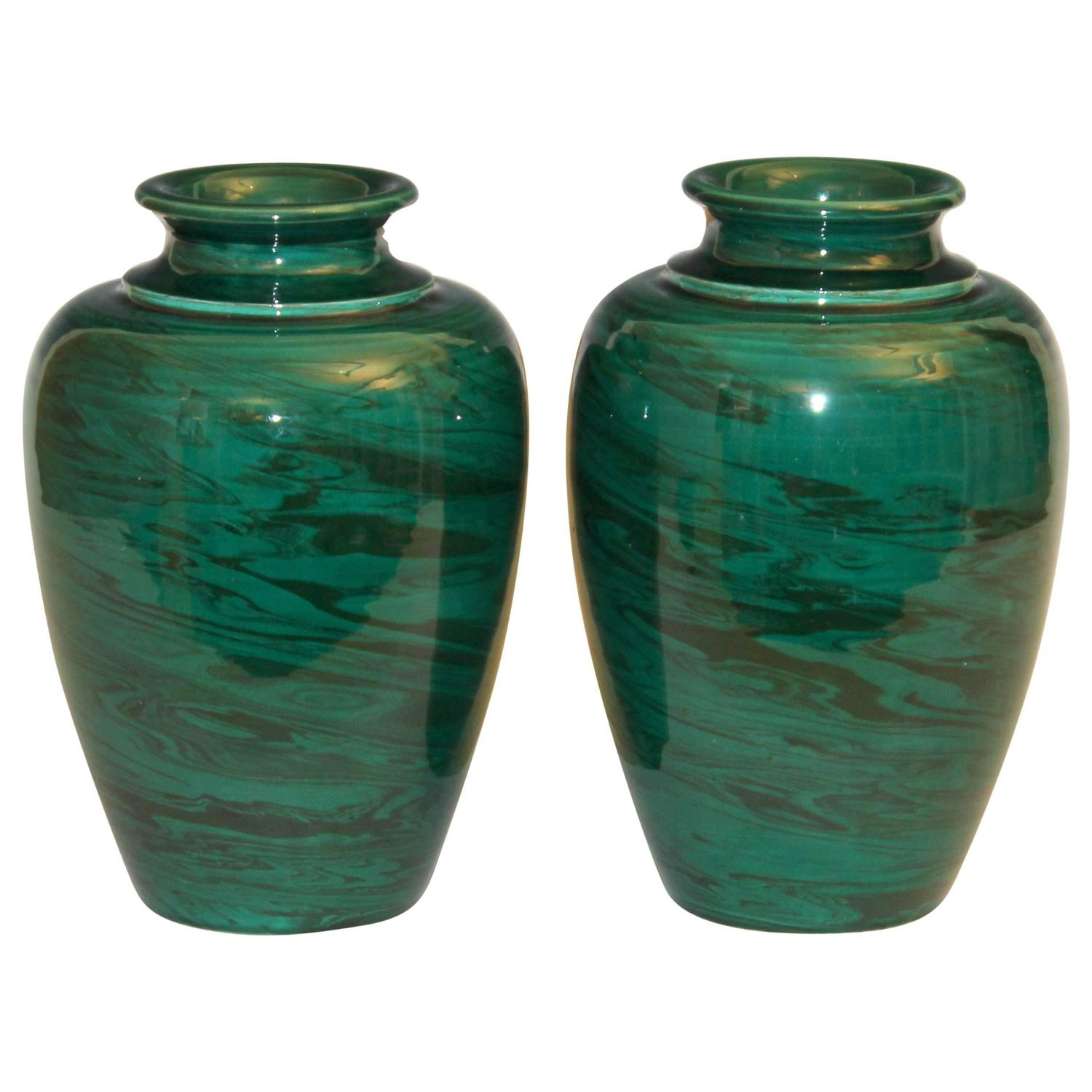 Pair of vintage bitossi green marbled malachite italian pottery pair of vintage bitossi green marbled malachite italian pottery vases at 1stdibs reviewsmspy