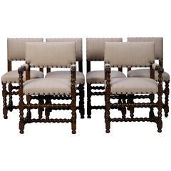 Set of Six Spanish Barley Twist Chairs