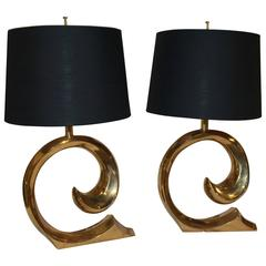 Vintage Pair of Pierre Cardin Brass Table Lamps, Logo Finial, Hollywood Regency