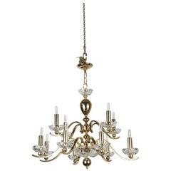 Elegant Twelve-Arm Polished Brass Chandelier