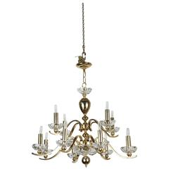 Elegant Twelve-Arm Polished Brass Chandelier