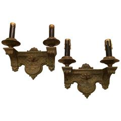 Pair of Art Deco Cast Metal Sconces