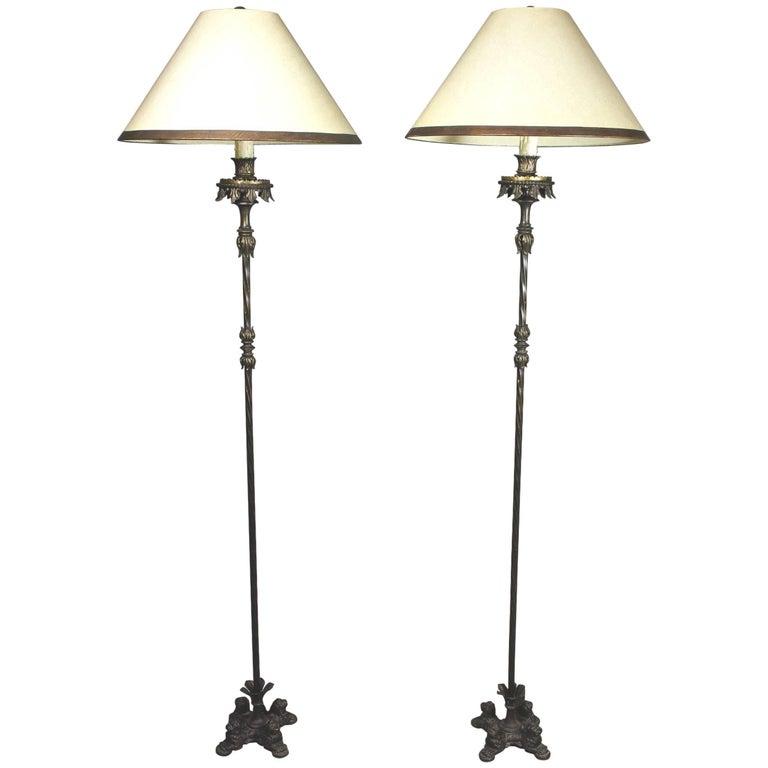 Pair of Renaissance Revival Cast Iron and Bronze Floor Lamps For Sale