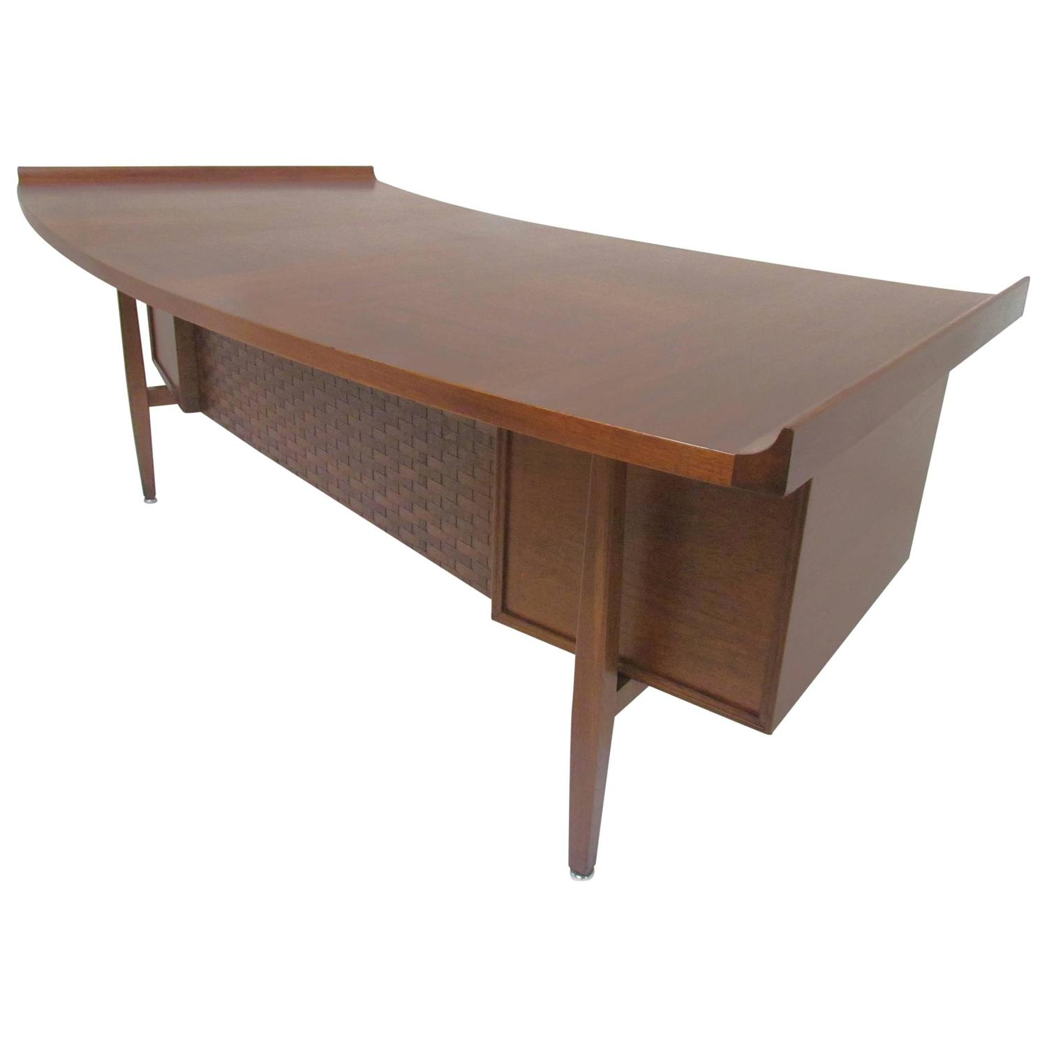 furniture walnut desk jesper cabinet executive side connecticut desks modern office teadrop collection with cado pedestal