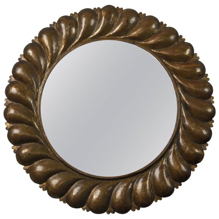 Midcentury Round Mirror with Brass Fluted Edge Frame