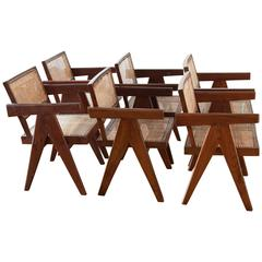 Set of Six Teak Armchairs from Chandigarh by Pierre Jeanneret