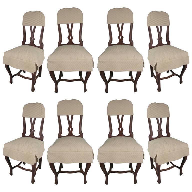 Set of Eight Swedish Style Dining Chairs with Quilted Covers