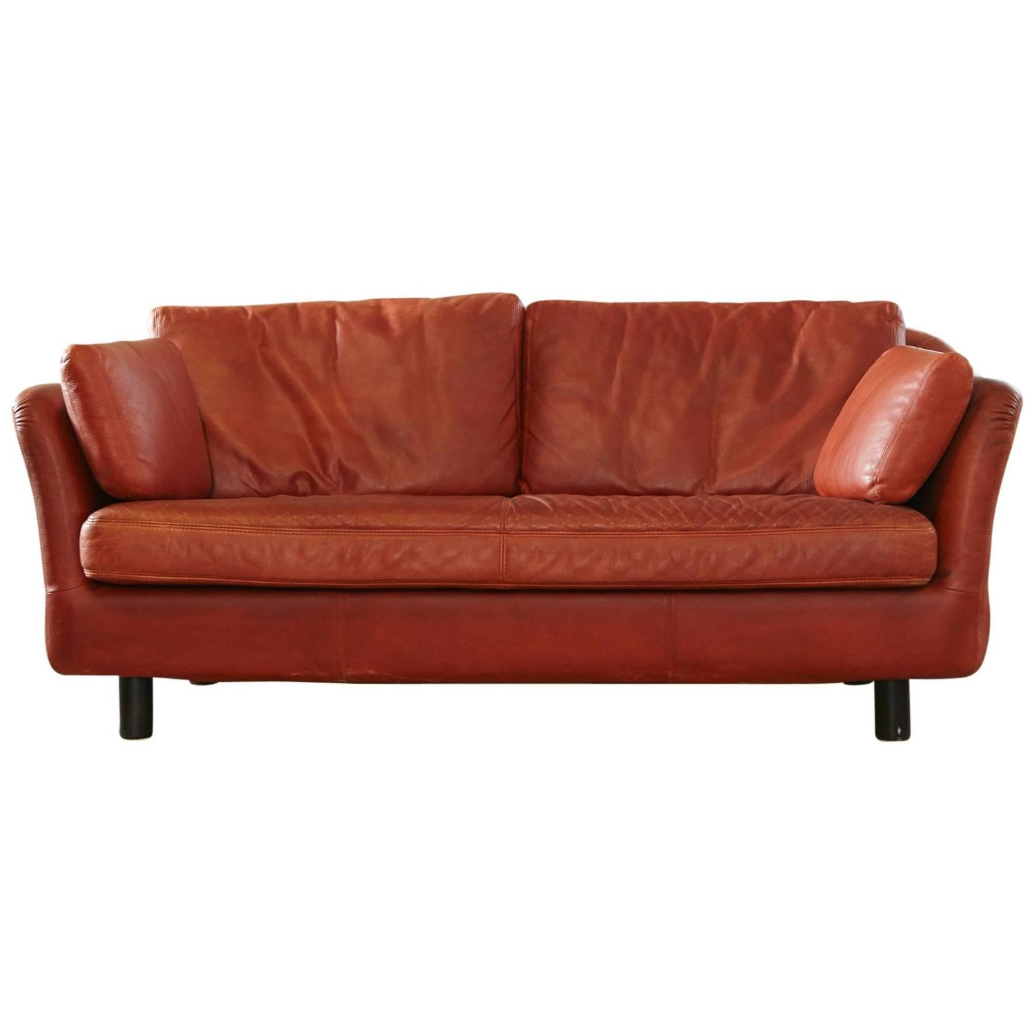 Leather Sofa Sale India: Indian Red Leather Two-Seat Sofa By DUX, Sweden At 1stdibs