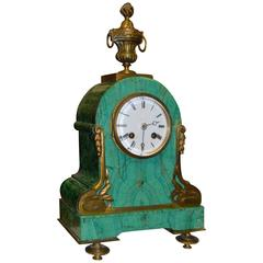 Art Nouveau Mantel Clock in Malachite