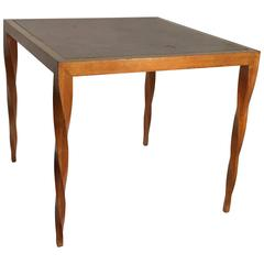 Lacewood Center Table with Leather Top by Johan Tapp