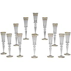 "Set of 12 Signed Saint Louis ""Excellence"" Champagne Flutes"
