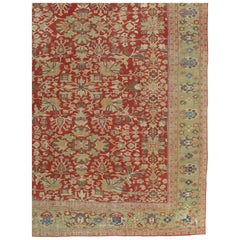 Antique Persian Sultanabad Carpet, Handmade Oriental Rug, Red, Green, Gold, Fine