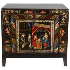 Chinese Painted Chest on Stand