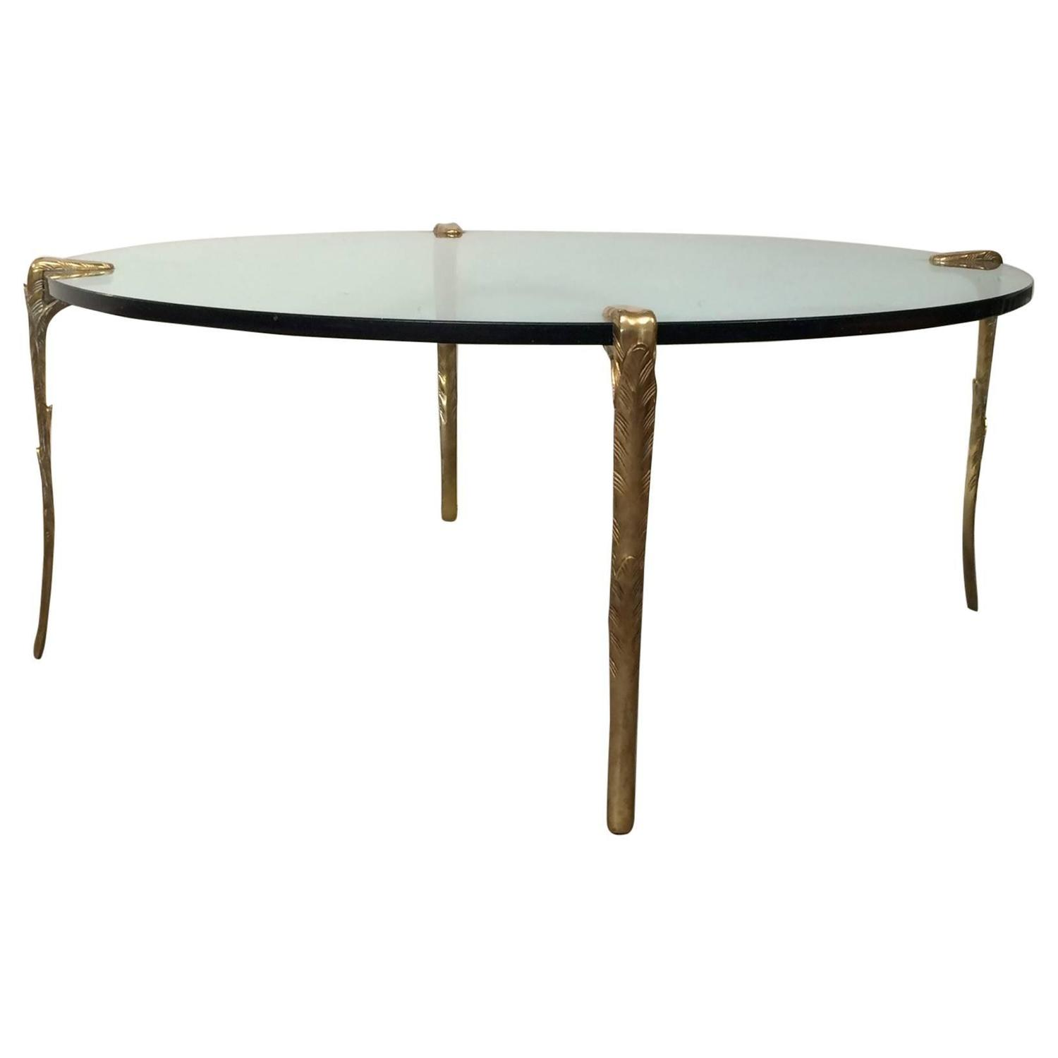 Hollywood Regency Coffee Table With Carved Brass Legs At 1stdibs