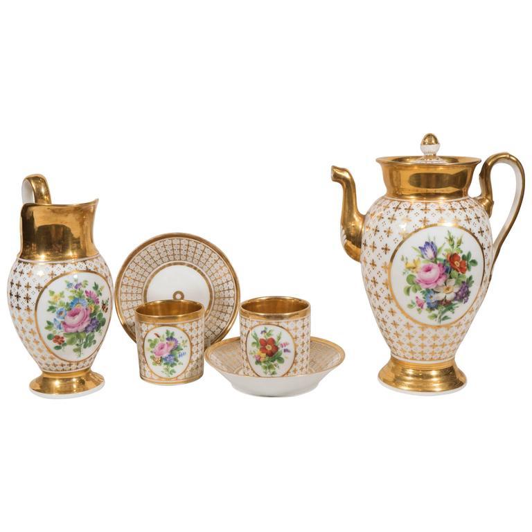 Demitasse Set Antique Paris Porcelain  IN STOCK