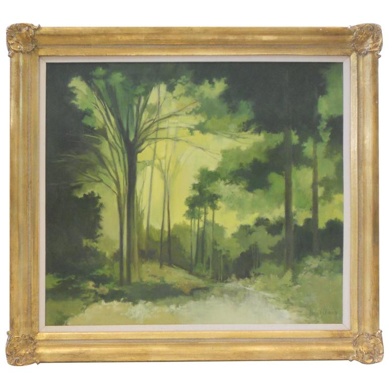 Landscape Oil Painting in Shades of Emerald and Green