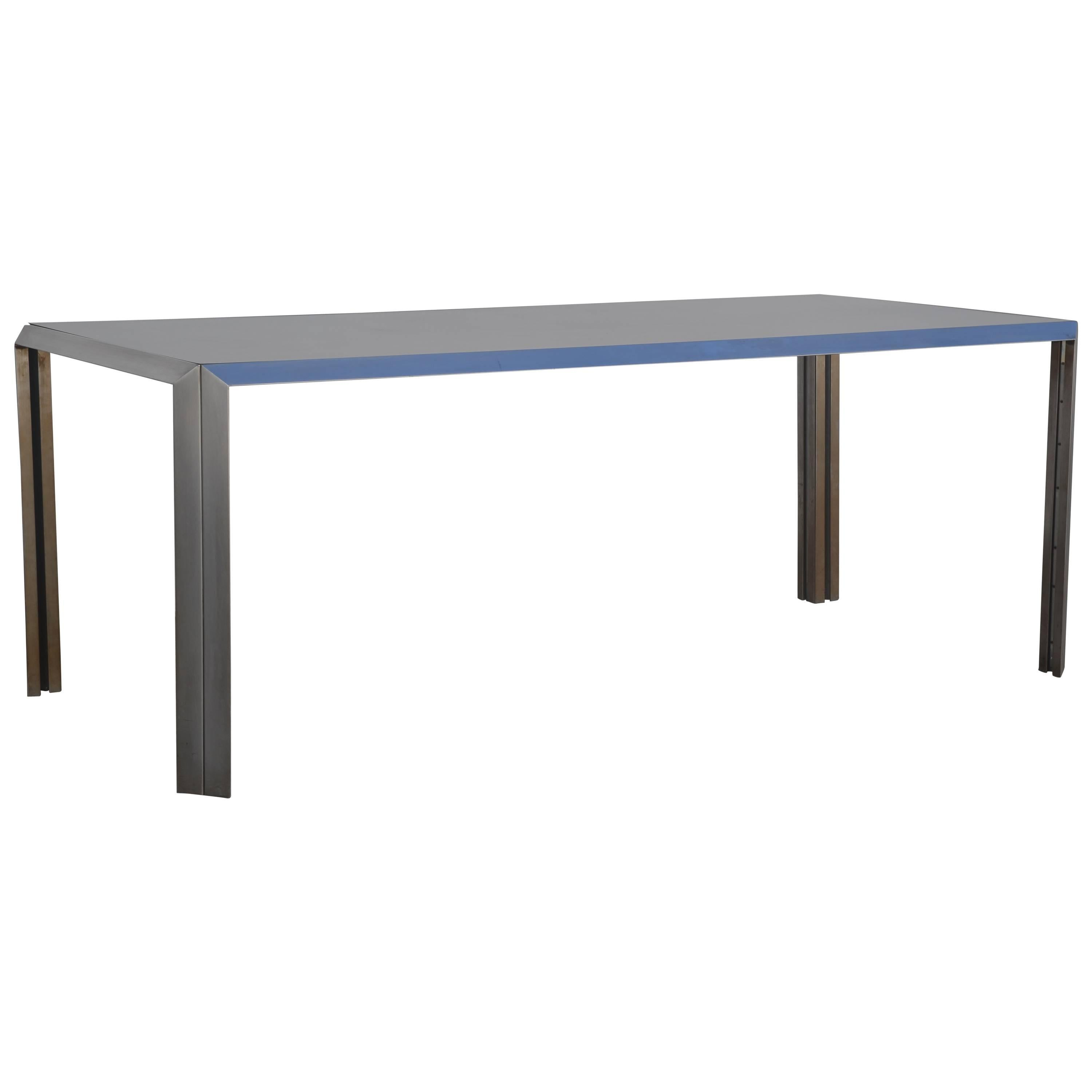 Rare Brushed Stainless Steel and Laminate Desk by Bernard Marange for TFM