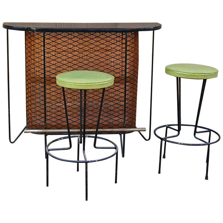 Mid-Century Modern Frederick Weinberg Bar and Stools Set