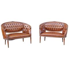 Pair of Italian Leather Tufted Settees