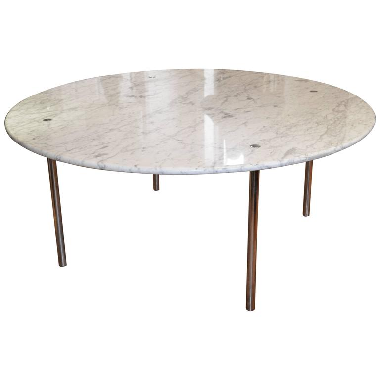 Monumental round marble dining table by katavolos littell for Kitchen tables cape town