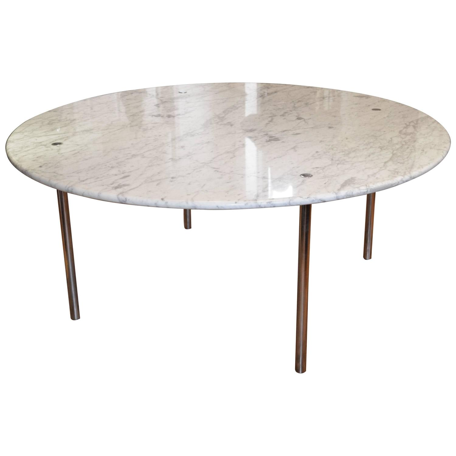 Monumental round marble dining table by katavolos littell for Round stone top dining table