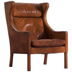Børge Mogensen Cognac Leather Wingback Chair