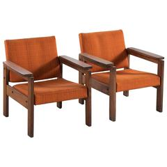 Pair of French Armchairs in Mahogany and Organe Fabric Upholstery