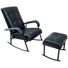 Jacques Adnet Rare Rocking Chair and Footstool in Black Hand-Stitched Leather