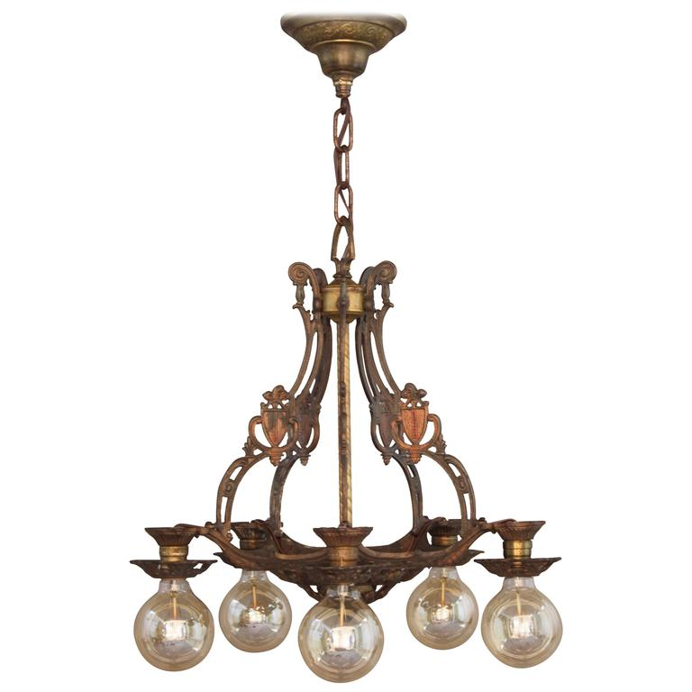Items Similar To Lighting Rustic Chandelier Vintage 1920 S: 1920s Polychrome Downlight Chandelier At 1stdibs