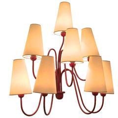 """Jean Royère Red Eight-Light Sconces, Model """"Jet d'Eau"""""""