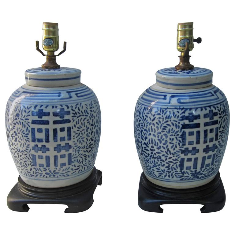 Pair of Chinese Blue and White Lamps