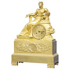 French Charles X Period Ormolu Bronze Clock
