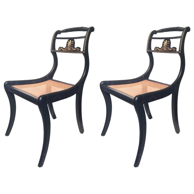 Ebonized Pair of English Regency Occasional Chairs, 1810 For Sale
