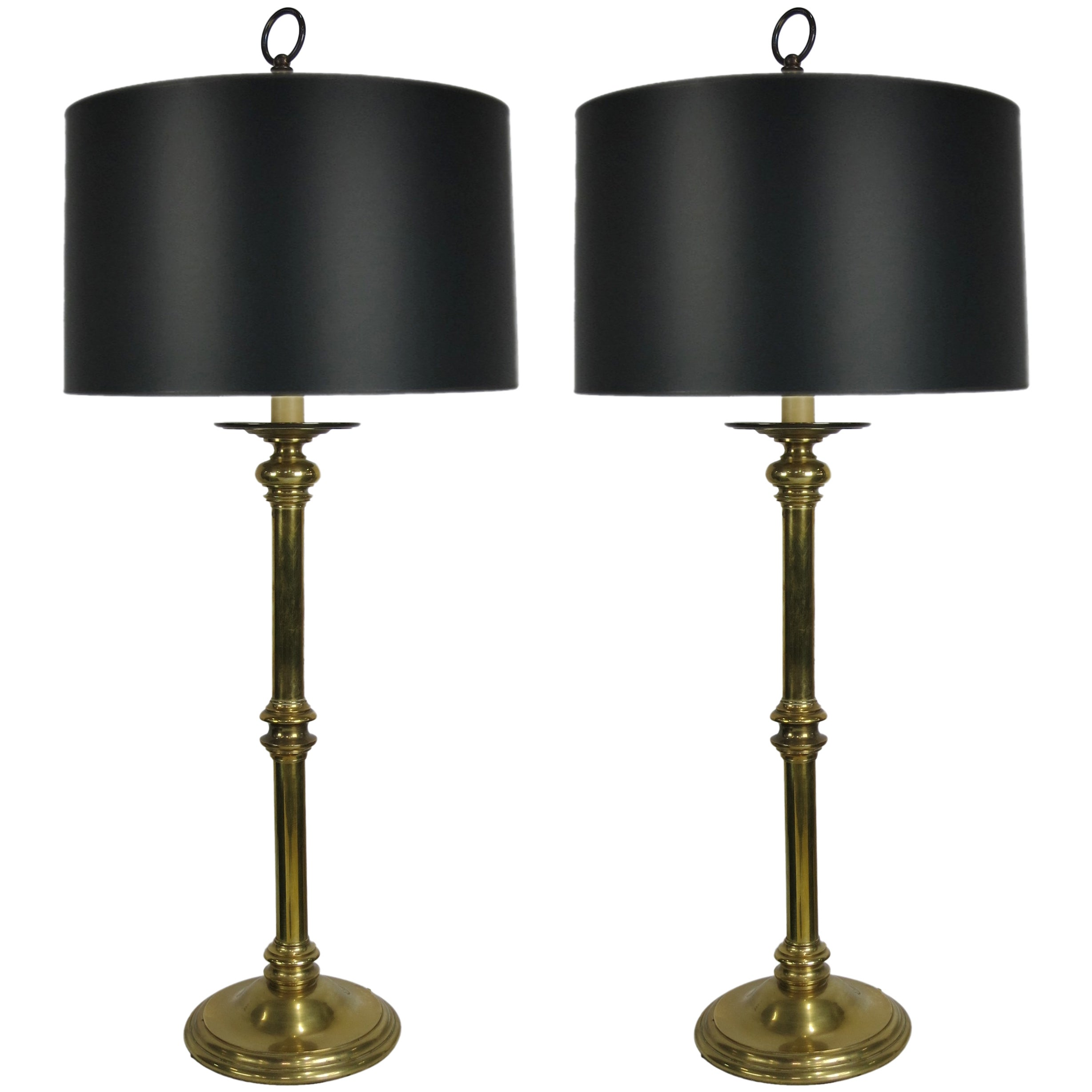 Pair of Brass Candlestick Lamps by Paul Hanson