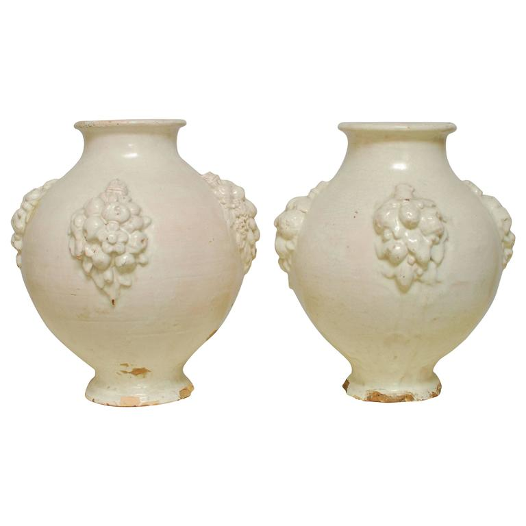 Pair of Italian Earthenware Pottery Jars For Sale