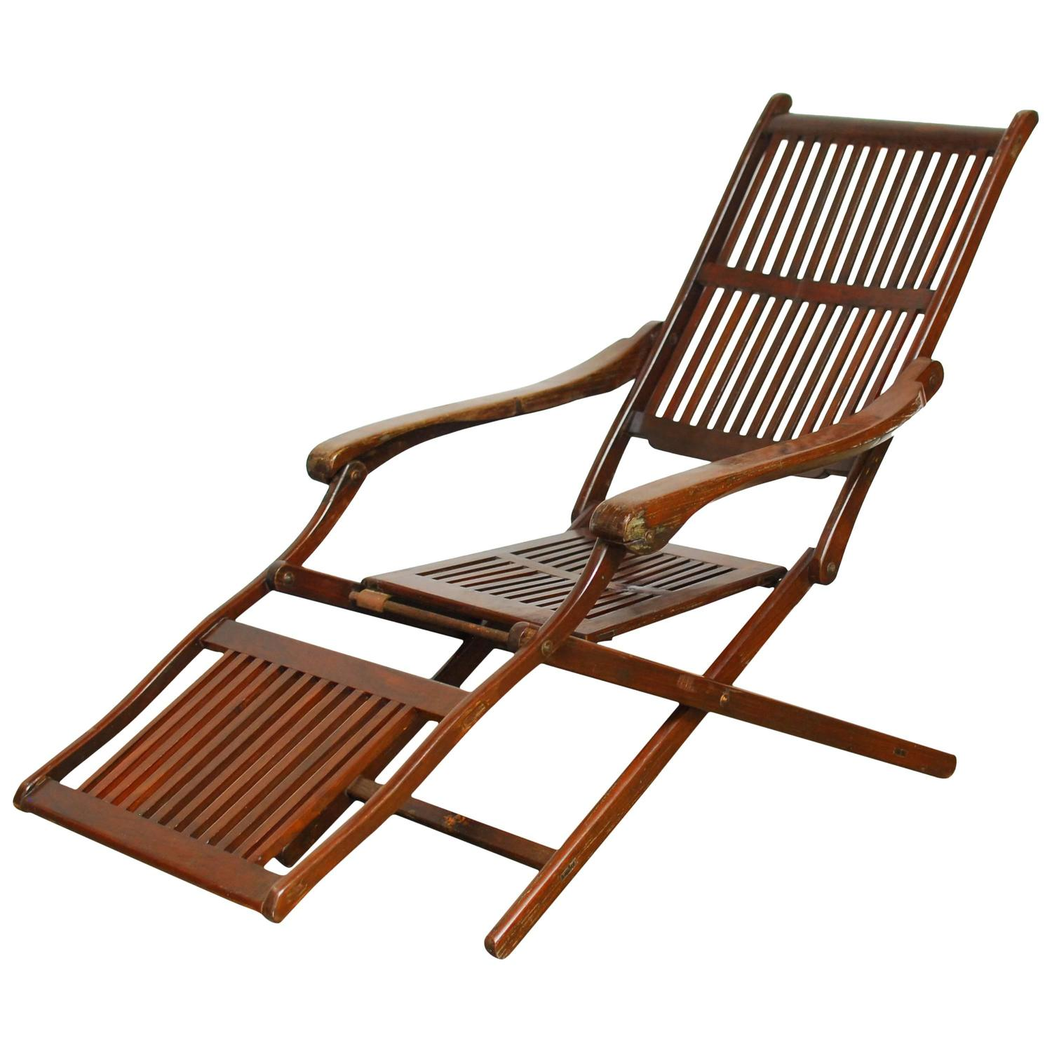 Antique Ocean Steamer Deck Chair at 1stdibs