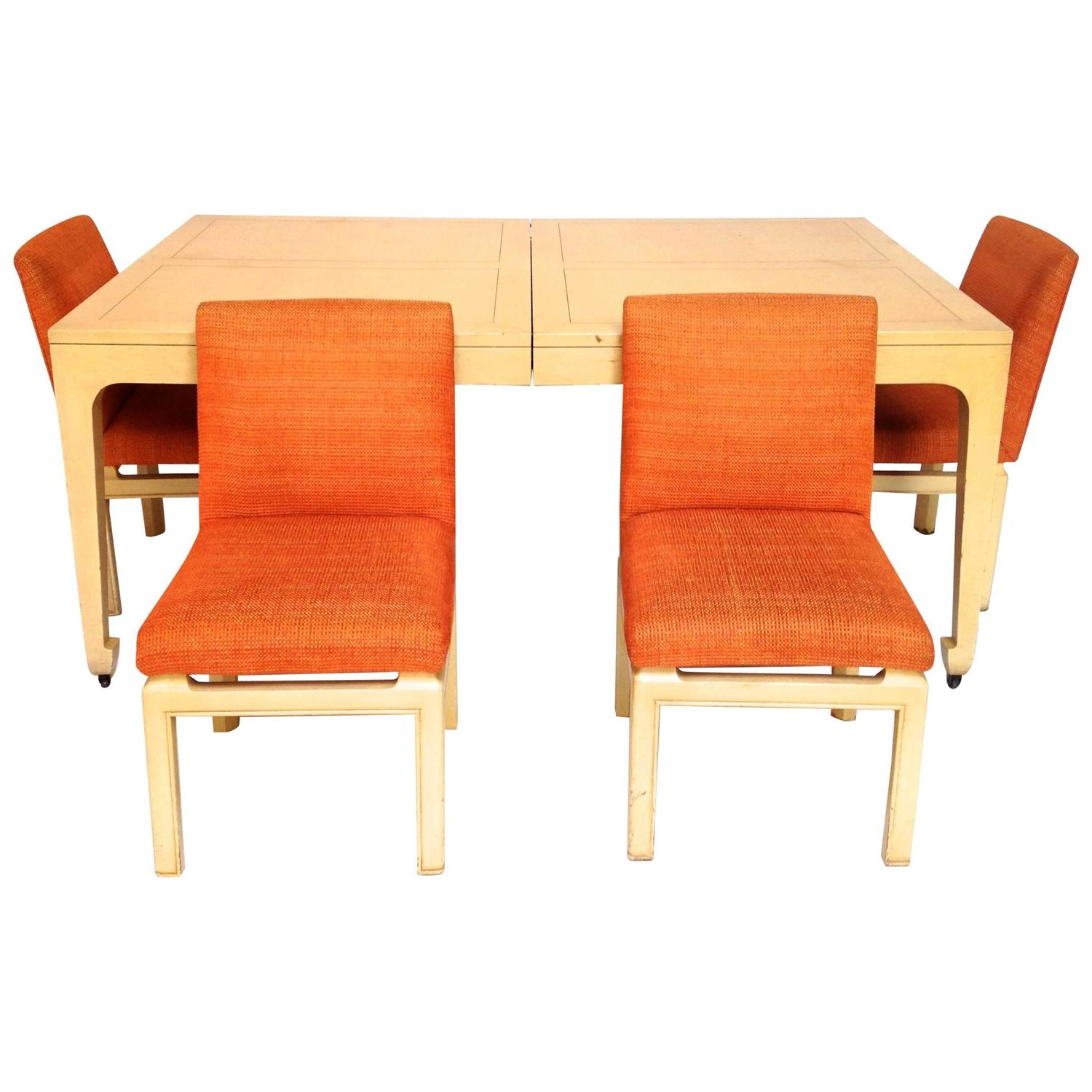 mid century modern baker far east collection dining table amp  chairs: dining table with wheels