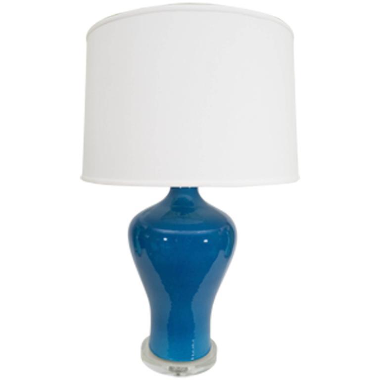 Large Blue Porcelain Lamp