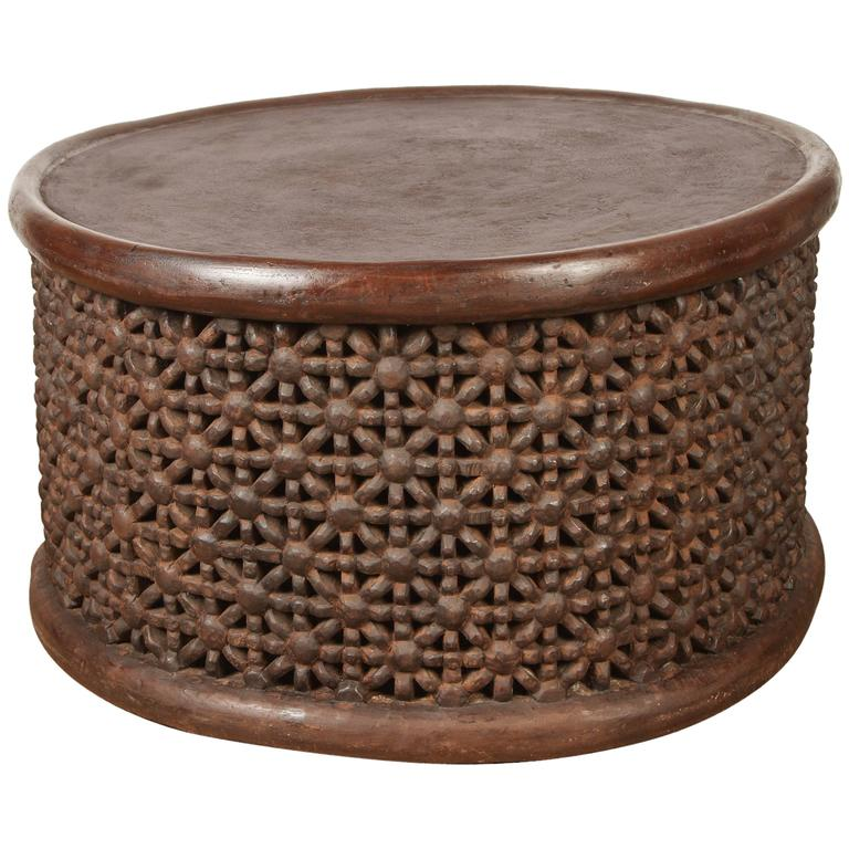 Round African Drum Table 1