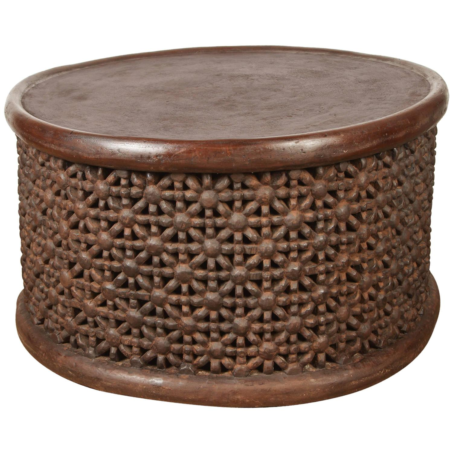 Elegant african drum coffee table African coffee tables