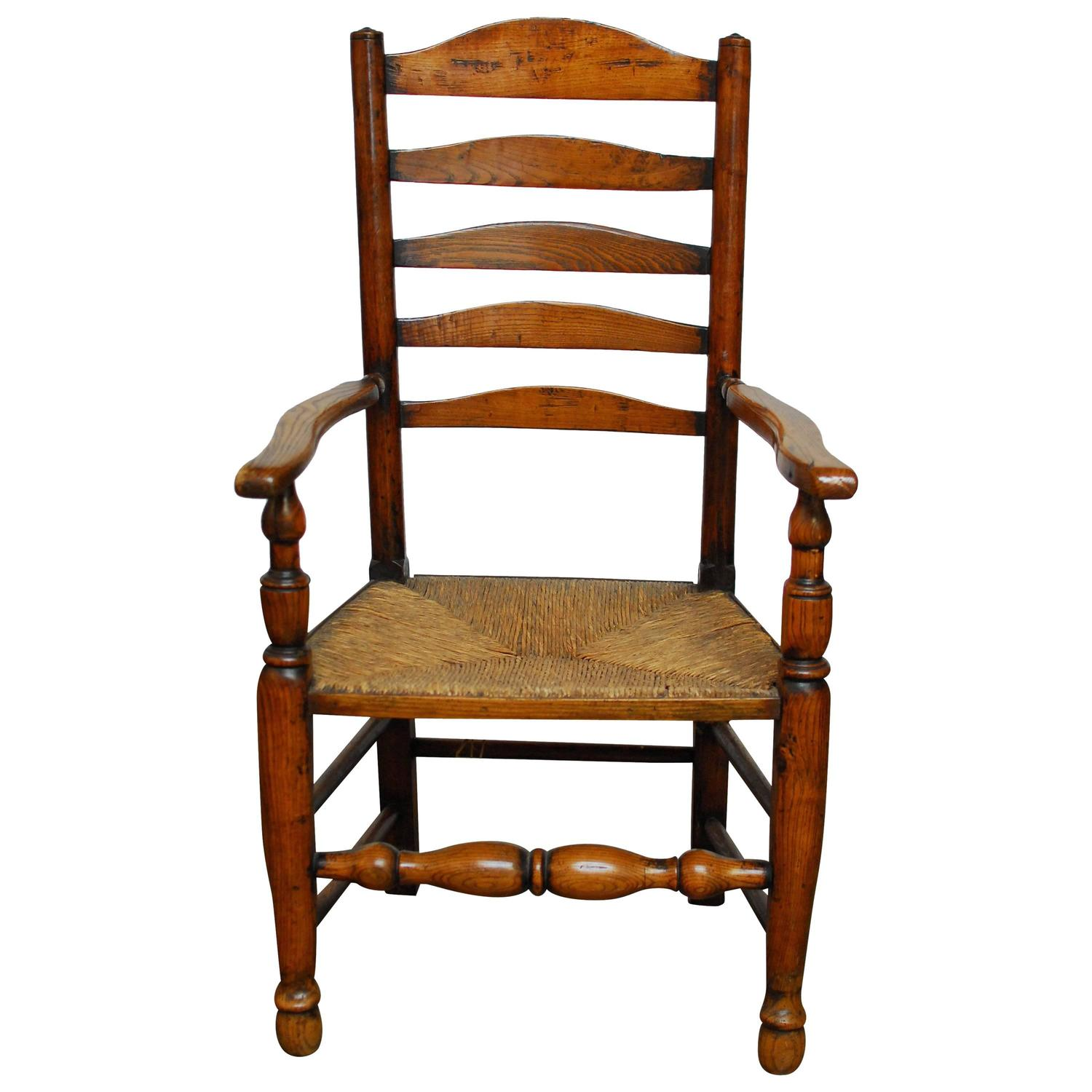 19th Century English Ladder Back Chair For Sale at 1stdibs