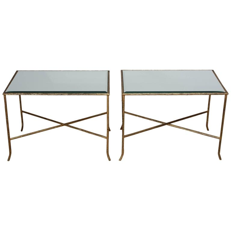 Pair of Italian Gilded X-Base Side Tables with Mirror Tops For Sale